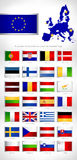 European Union states detailed flags. Royalty Free Stock Photography