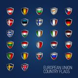 European Union states full flags. Vector country shields. European Union states full flags Stock Photo