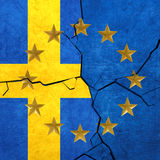 European union and Sweden flags. Breaking apart Royalty Free Stock Image