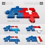 European Union and Switzerland, Luxembourg, Monaco, Netherlands, France Flag. 3d vector puzzle. Set 02. European Union and Switzerland, Luxembourg, Monaco Stock Photos