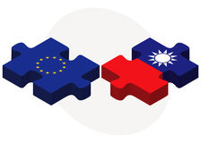 European Union and Taiwan Flags in puzzle isolated on white background Royalty Free Stock Images