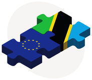 European Union and Tanzania Flags in puzzle isolated on white background Royalty Free Stock Photography