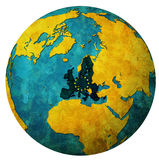 European union territory with flag over globe map Royalty Free Stock Photography