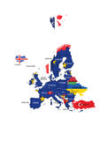 European Union territory map and country names Stock Photography