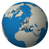 European union territory over globe map Stock Image