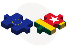 European Union and Togo Flags in puzzle isolated on white background Royalty Free Stock Photography