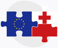 European Union and Tonga Flags in puzzle isolated on white background Stock Photography