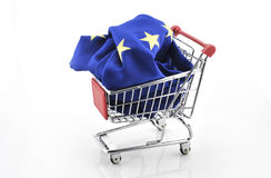 European Union trade market surplus deficit shopping cart isolated september 18, 2016. European Union trade market surplus deficit shopping cart isolated royalty free stock photography