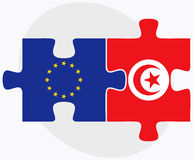 European Union and Tunisia Flags in puzzle isolated on white background Royalty Free Stock Images