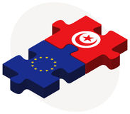 European Union and Tunisia Flags in puzzle isolated on white background Stock Photo