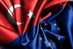 European Union and Turkey flag. Amazing European Union and Turkey flag stock images