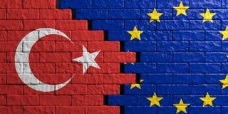 European Union and Turkey flag, brick wall background. 3d illustration Royalty Free Stock Photos