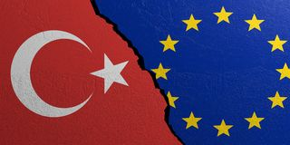 European Union and Turkey flag, plastered wall background. 3d illustration Royalty Free Stock Photos