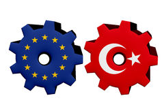 The European Union and Turkey working together Stock Images