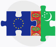 European Union and Turkmenistan Flags in puzzle isolated on white background Stock Images