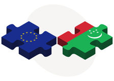 European Union and Turkmenistan Flags in puzzle isolated on white background Stock Photo