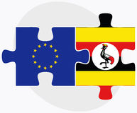 European Union and Uganda Flags in puzzle isolated on white background Royalty Free Stock Photo