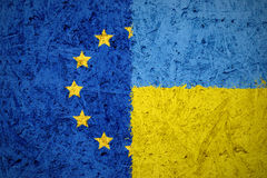 European Union and Ukraine flags Royalty Free Stock Photo