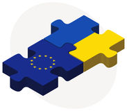 European Union and Ukraine Flags in puzzle isolated on white background Stock Photography