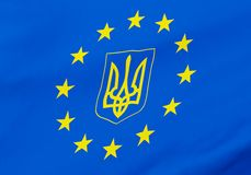 European Union Ukraine gerb flag Royalty Free Stock Photos