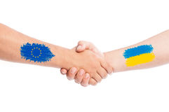European Union and Ukraine shaking hands Royalty Free Stock Photos