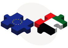 European Union and United Arab Emirates Flags in puzzle isolated on white background Royalty Free Stock Images