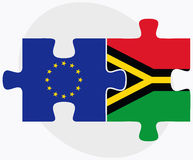 European Union and Vanuatu Flags in puzzle isolated on white background Stock Images