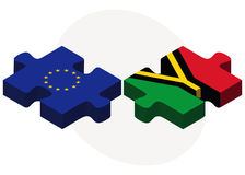 European Union and Vanuatu Flags in puzzle isolated on white background Stock Photo