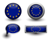 European Union Vector Flag. In icons and button shape Stock Image