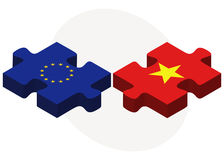 European Union and Vietnam Flags in puzzle isolated on white background Stock Photography