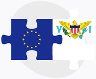 European Union and Virgin Islands (U.S.) Flags in puzzle isolated on white background Royalty Free Stock Images