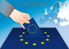 European Union voting, ballot box, flag and map. European Union politics vote, hand, ballot box , flag and map, vector illustration Stock Photos