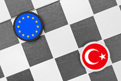 European Union vs Turkey. Draughts (Checkers) as metaphor for negotation between European Union and Turkey stock photo