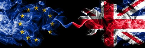 European Union vs United Kingdom, British smoke flags placed side by side. Thick colored silky smoke flags of EU and United stock illustration