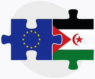 European Union and Western Sahara Flags in puzzle isolated on white background Royalty Free Stock Image