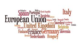 European Union word cloud. Illustration of Europena Union through tagcloud word cloud; containing the countries-members of EU combined stock illustration