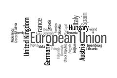 European Union word cloud. Illustration of Europena Union through tagcloud word cloud; countries-members of EU combined royalty free illustration