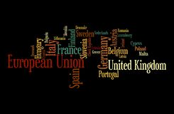 European Union word cloud. Illustration of European Union through tagcloud; word cloud;;countries-members of EU combined royalty free illustration