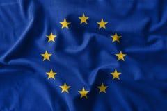 European Union & x28; EU & x29; flag painting on high detail of wave cotton fabrics . 3D illustration Stock Photos
