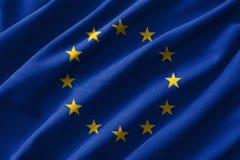 European Union & x28; EU & x29; flag painting on high detail of wave cotton fabrics . 3D illustration