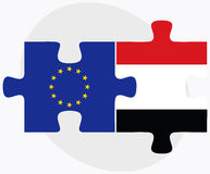 European Union and Yemen Flags in puzzle isolated on white background Stock Photo