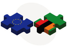 European Union and Zambia Flags in puzzle isolated on white background Royalty Free Stock Image