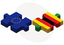 European Union and Zimbabwe Flags in puzzle isolated on white background Royalty Free Stock Photo
