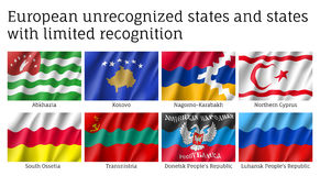 European unrecognized, unlimited recognition states flags set Royalty Free Stock Image