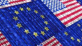 European US flag composed of binary data streams cybersecurity c Royalty Free Stock Photos