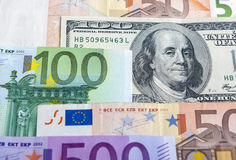European and the US Hard Currencies Together Royalty Free Stock Image