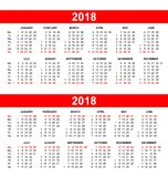 European and USA calendar grid in vector Royalty Free Stock Image