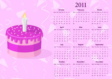 European Vector calendar 2011 with cake. Starting from Mondays Royalty Free Stock Image