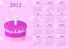 European Vector calendar 2012 with cake Royalty Free Stock Images