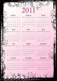 European Vector floral grungy calendar 2011 Royalty Free Stock Photography